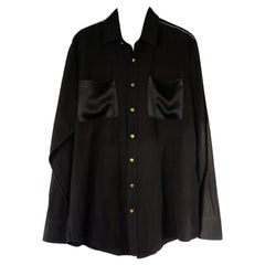 Rhinestone Oversized Shirt Black Cotton Gold Buttons Up-cycled J Dauphin