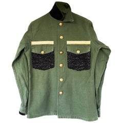 Embellished Green Military Jacket Black Gold Lurex Tweed Gold Buttons J Dauphin