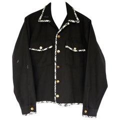 Embellished Black Jacket Cropped Black White Lurex Tweed J Dauphin