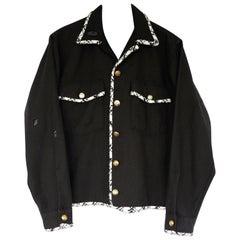 Embellished Black Jacket Military Black White Lurex Tweed J Dauphin