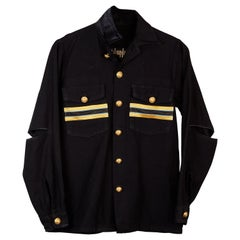 Embellished Black Jacket Military Gold Braid Gold Buttons J Dauphin