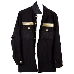 Embellished Black Jacket Military Gold Braid Lurex Tweed Gold Buttons J Dauphin