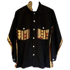 Embellished Black Jacket Original Designer Silk Silver Button J Dauphin