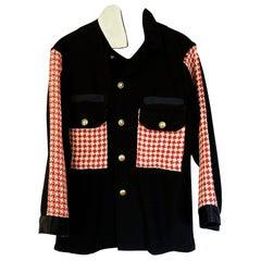 Embellished Black Jacket Original Designer Tweed Gold Button J Dauphin