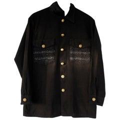 Embellished Evening Blazer Jacket Military VTG Gold Button Black Tweed J Dauphin