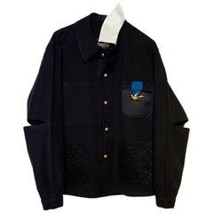 Embellished Blazer Jacket Black Tweed Pockets White Silk Collar J Dauphin