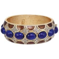 Embellished Bolt Bracelet with Brown Tortoise Enamel and Lapis Cabochons
