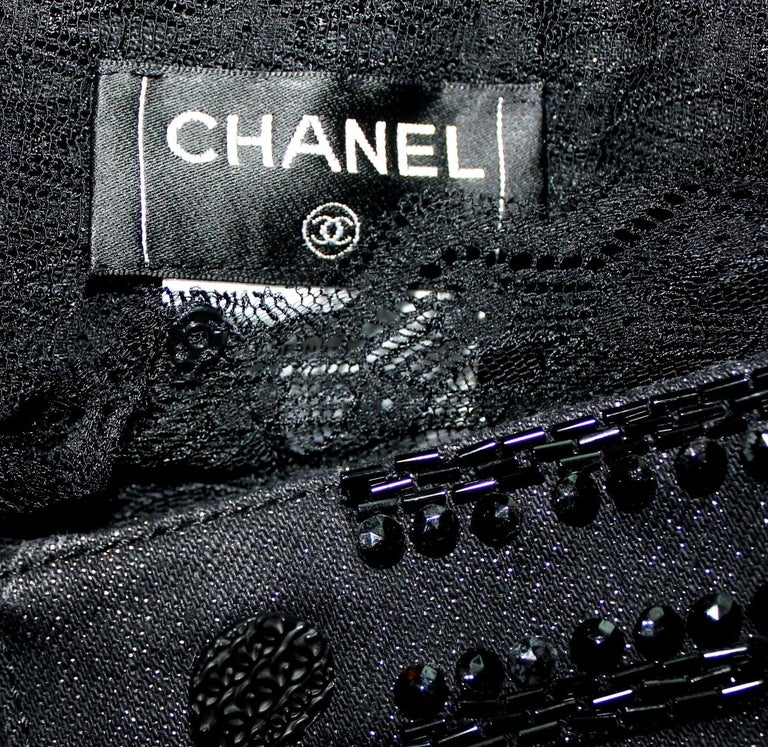 Embellished CHANEL Metallic Gunmetal Skirt Denim & Lace Skirt In Good Condition For Sale In Switzerland, CH