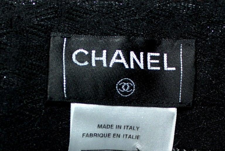 Women's Embellished CHANEL Metallic Gunmetal Skirt Denim & Lace Skirt For Sale