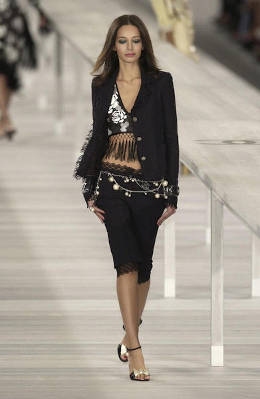 Embellished CHANEL Metallic Gunmetal Skirt Denim & Lace Skirt For Sale 1