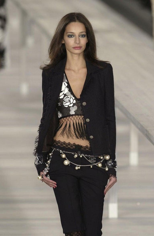 Embellished CHANEL Metallic Gunmetal Skirt Denim & Lace Skirt For Sale 2