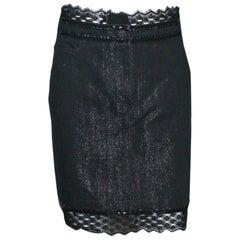 Embellished Chanel Metallic Gunmetal Skirt Denim Lace Skirt