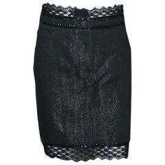 Embellished CHANEL Metallic Gunmetal Skirt Denim & Lace Skirt