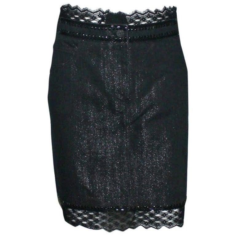 Embellished CHANEL Metallic Gunmetal Skirt Denim & Lace Skirt For Sale