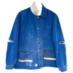 Embellished Chrystal Silk Jacket French Blue Distressed Gold Buttons J Dauphin