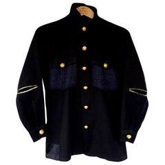 Embellished Evening Jacket Military Black Gold Button Blue Lurex Tweed J Dauphin