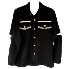 Embellished Evening Silver Fringe Jacket Military Black Gold Button J Dauphin
