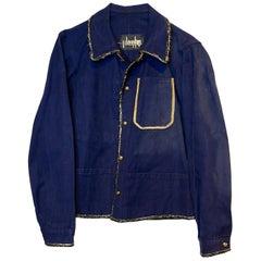 Embellished French Blue Jacket Black Lurex Tweed Gold Buttons J Dauphin