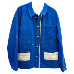 Embellished French Blue Jacket White Tweed Silver Buttons Gold Braid J Dauphin