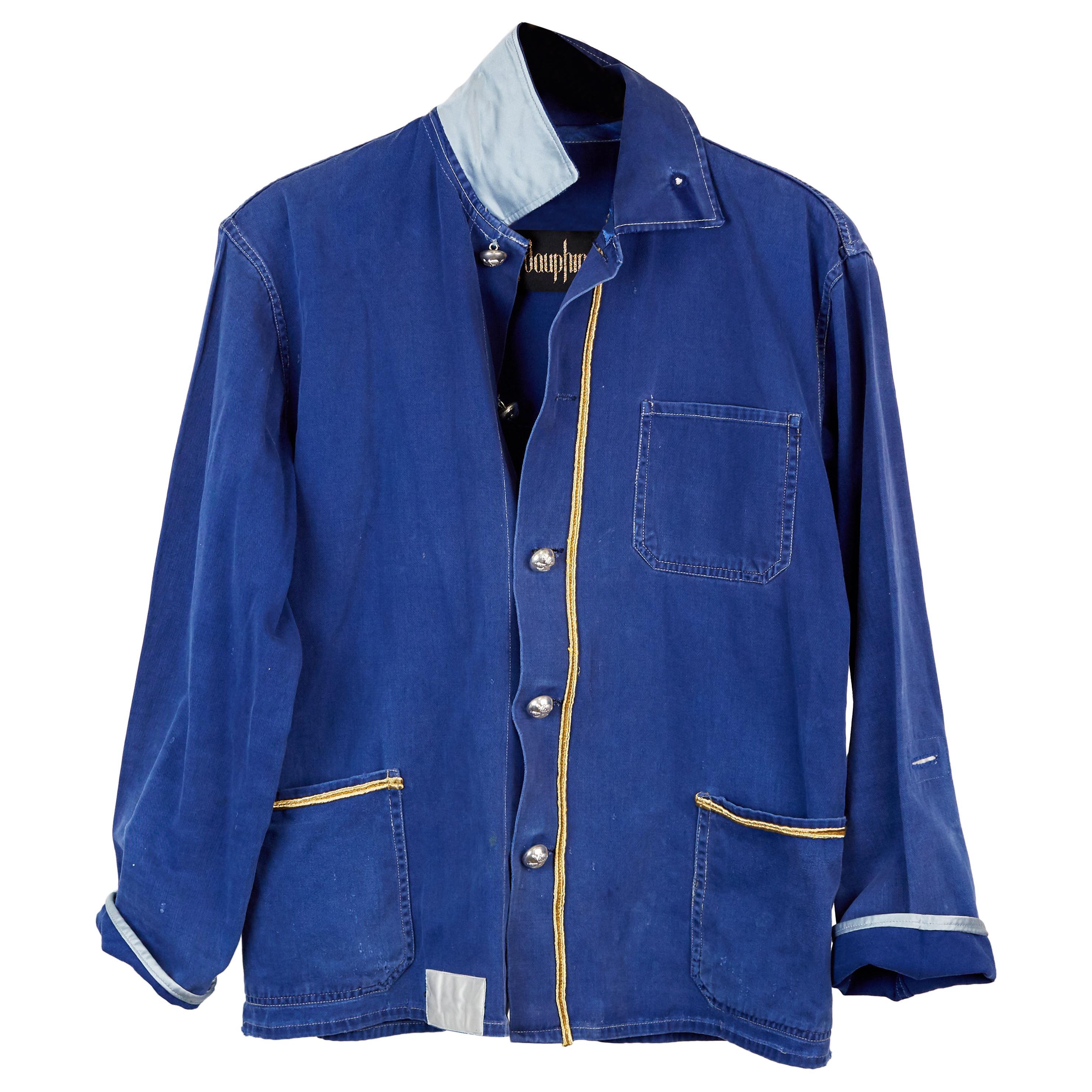 Cotton Jacket Blazer French Blue Work Jacket Embellished Gold Braid J Dauphin