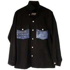 Embellished Jacket French Blue Tweed Black Military Silver Buttons J Dauphin