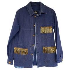Embellished Fringe Blue Jacket French Blue Work Wear J Dauphin