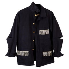 Embellished Fringe French Work Jacket Black Gold Buttons Open Elbow J Dauphin