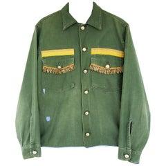 Embellished Fringe Jacket Military Green Gold Yellow Braid Silk J Dauphin