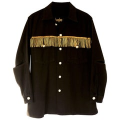 Embellished Gold Bullion Fringe Military Jacket Black Silver Buttons J Dauphin