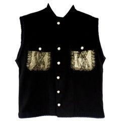 Embellished Gold Coated Knit Sleeveless Jacket Vest Military Black J Dauphin