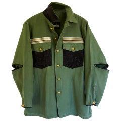 Embellished Green Jacket Black Lurex Tweed Military Braid J Dauphin