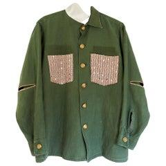 Embellished Green Jacket Pink Sequin Tweed Silk Gold Button J Dauphin