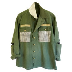 Embellished Green Jacket White Silver Lurex Tweed Military Braid J Dauphin