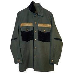 Embellished Tweed Green Military Blazer Shirt Jacket Gold Buttons J Dauphin