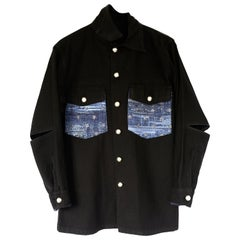 Embellished Oversized Jacket Black Military Blue Glitter Tweed J Dauphin