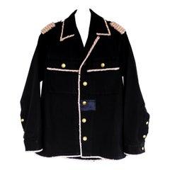 Embellished Jacket Black Military Sequin Gold Pink Tweed M/L J Dauphin