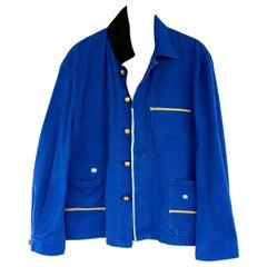 Embellished Jacket French Blue Silk Details Gold Braid Gold Buttons J Dauphin