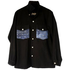 Embellished Shirt Jacket French Star Tweed Black Silver Buttons J Dauphin