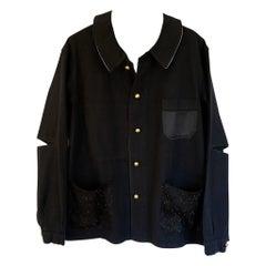Embellished Jacket French Work Wear Black Rhinestone Silk Black Tweed J Dauphin