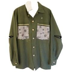 Embellished Jacket Green Original Designer Tweed One of a kind J Dauphin