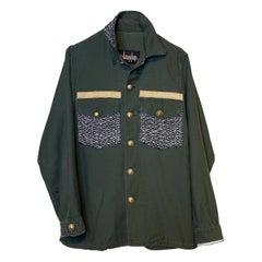 Embellished Jacket Military Green Gold Button Silver Lurex Tweed  J Dauphin