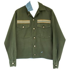 Embellished Jacket Military Green Silver Buttons Light Blue Silk J Dauphin