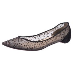 Embellished Mesh And Suede Follies Strass Pointed Toe Ballet Flats Size 40.5