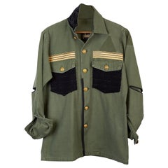 Embellished Military Green Jacket Black Tweed Gold Buttons Gold Braid J Dauphin