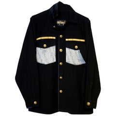 Embellished Military Jacket Black Lurex White Tweed Gold Buttons J Dauphin