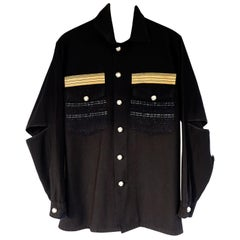 Embellished Shirt Jacket Designer Tweed Gold Braids Repurposed J Dauphin