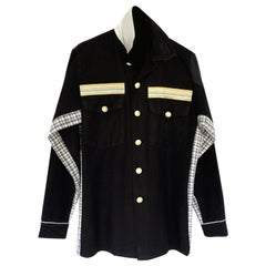 Embellished Jacket Military Black Gold Button Wool Flannel J Dauphin