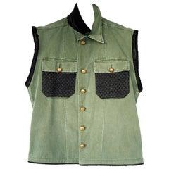 Embellished Military Sleeveless Jacket Green Gold Bottons Tweed VTG J Dauphin