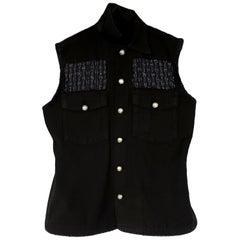 Embellished Sleeveless Jacket Vest Black Military Tweed Silver Buttons J Dauphin