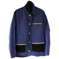 Embellished French Blue Jacket Black Tweed Silver Buttons J Dauphin